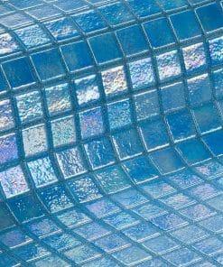 Blue iridescent glass tile Azur