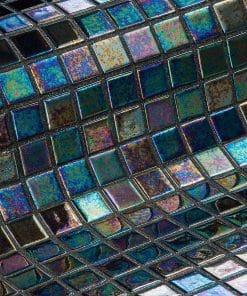 Iridescent glass mosaic tile Ebano from Ezarri